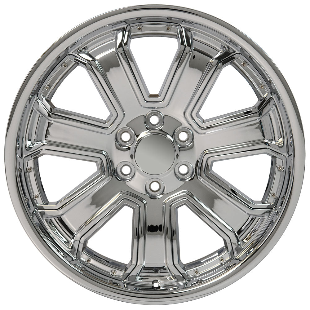 "22"" fits Chevrolet - Silverado Deep Dish Wheel Replica - Chrome with Chrome Inserts 22x9.5 