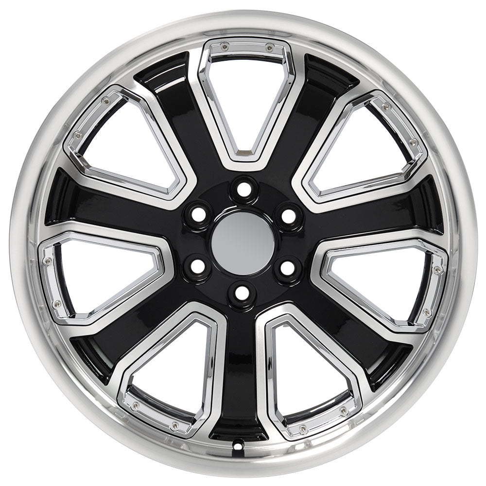 "22"" fits Chevrolet - Silverado Deep Dish Wheel Replica - Black Machined Face with Chrome Inserts 22x9.5 