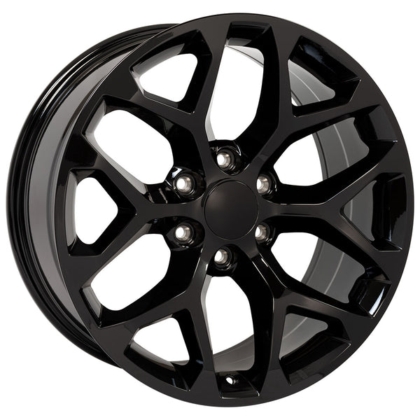 "22"" Rim fits Sierra Snowflake Gloss Black 22x9 Wheel Hollander 5668"