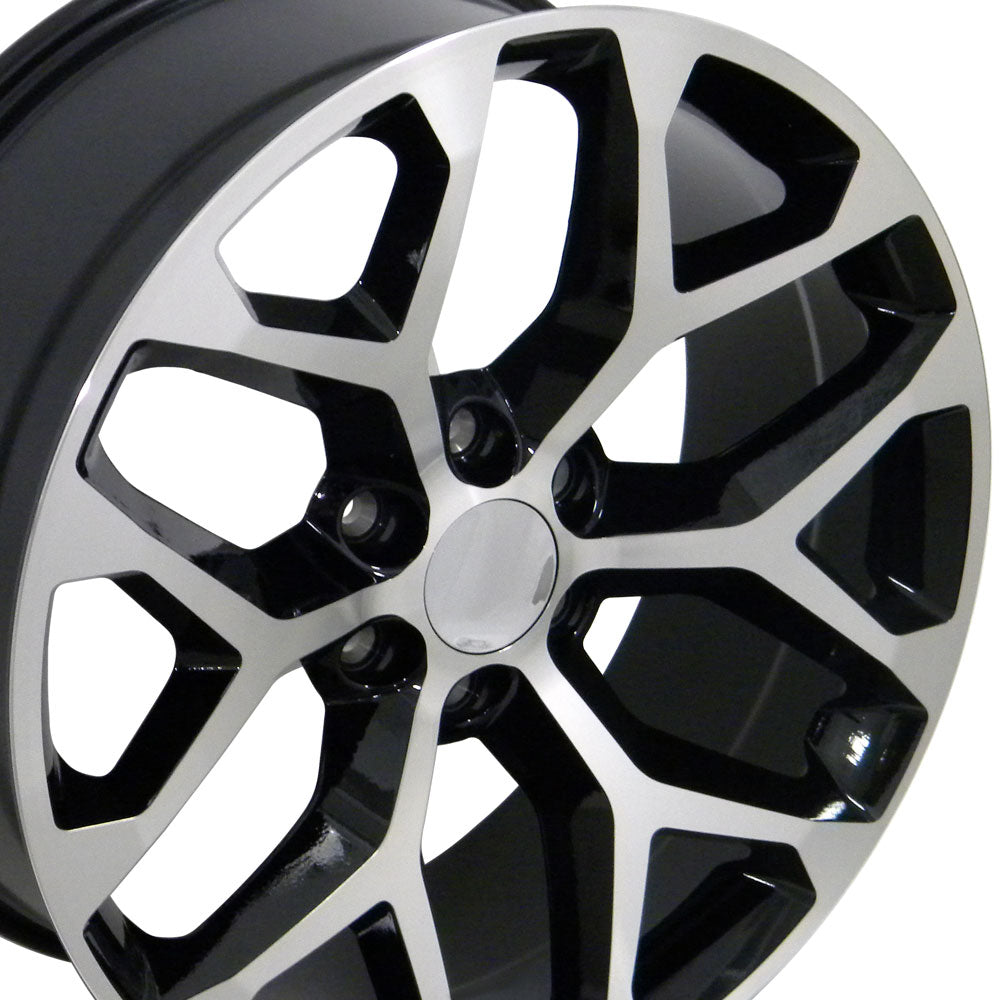 "20"" Fits GMC - Sierra Style Snowflake Replica Wheel - Black Mach'd Face 20x9 