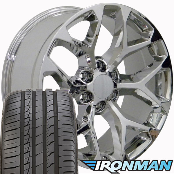 "22"" Fits GMC - Sierra Snowflake Style Replica Wheel - Chrome 22x9 with 285/45-22 Ironman I Move tires and OEM TPMS"