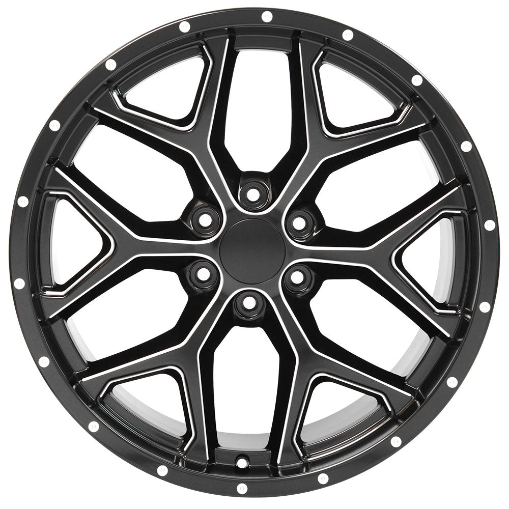 "22"" fits Chevrolet - Deep Dish Silverado Replica Wheel - Satin Black with Milled Edges 22x9.5 