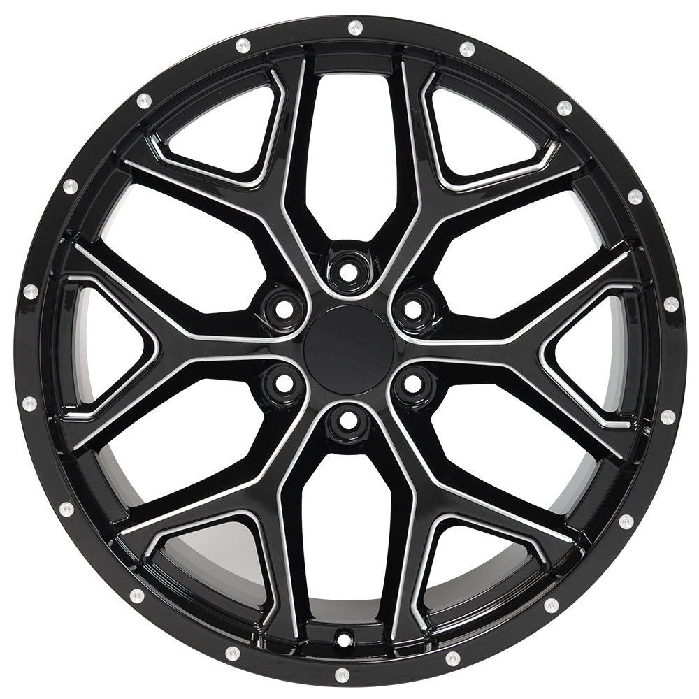 "22"" fits Chevrolet - Deep Dish Silverado Replica Wheel - Black with Milled Edges 22x9.5 