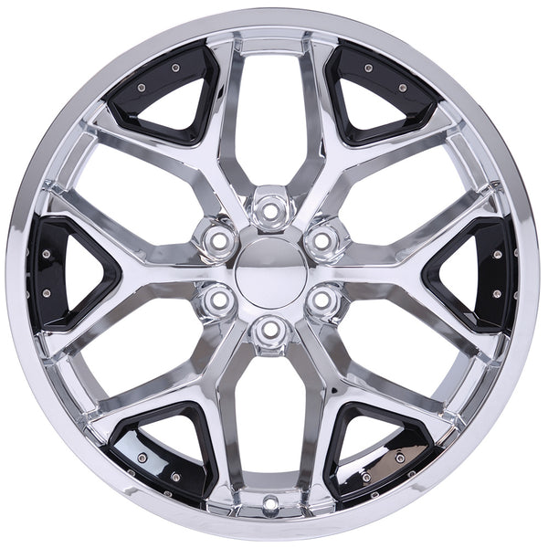 "22"" fits Chevrolet - Deep Dish Silverado Replica Wheel - Chrome with Black Inserts 22x9.5 