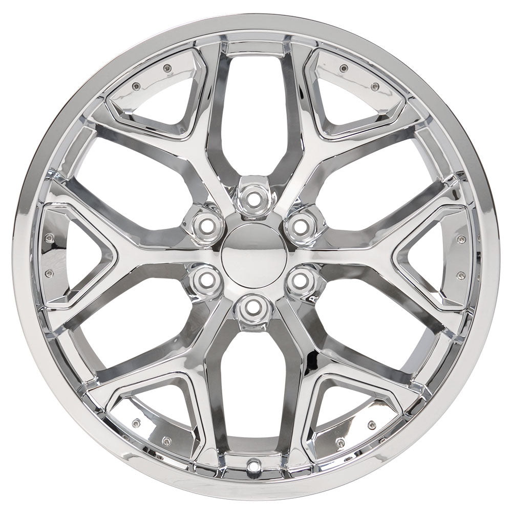 "22"" fits Chevrolet - Deep Dish Silverado Replica Wheel - Chrome with Chrome Inserts 22x9.5 