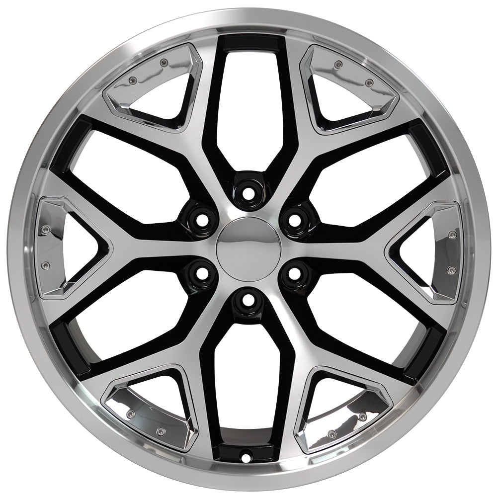 "22"" fits Chevrolet - Deep Dish Silverado Replica Wheel - Black Machined Face with Chrome Inserts 22x9.5 