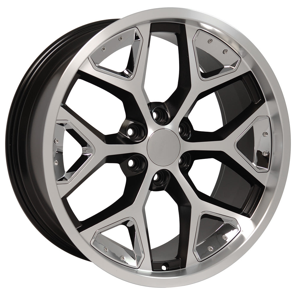 "22"" fits Chevrolet - Deep Dish Silverado Replica Wheel - Satin Black Machined Face with Chrome Inserts 22x9.5 
