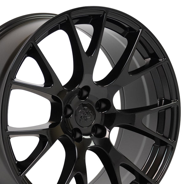 20 inch Rim Fits Dodge Challenger Hellcat Replica Wheel DG15 20x9 Gloss Black