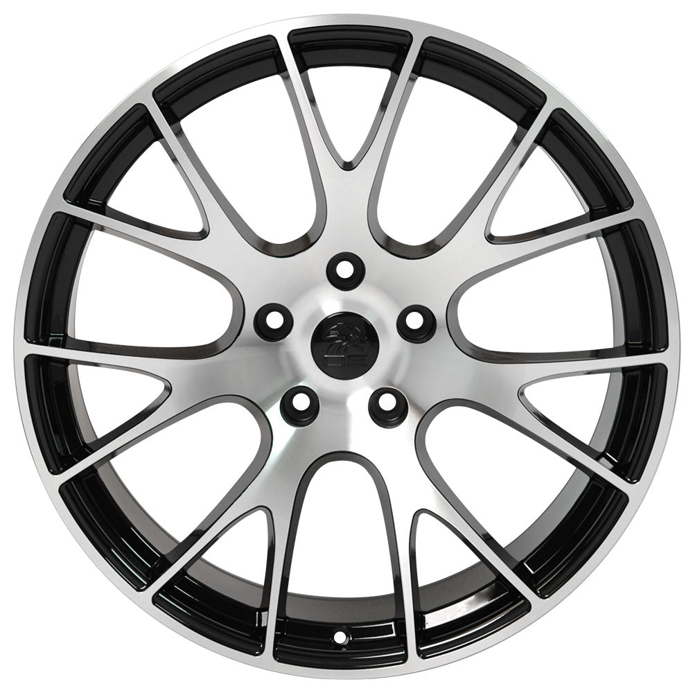 "20"" fits Dodge Ram - Hellcat Style Replica Wheel - Black Machined Face 2x9 