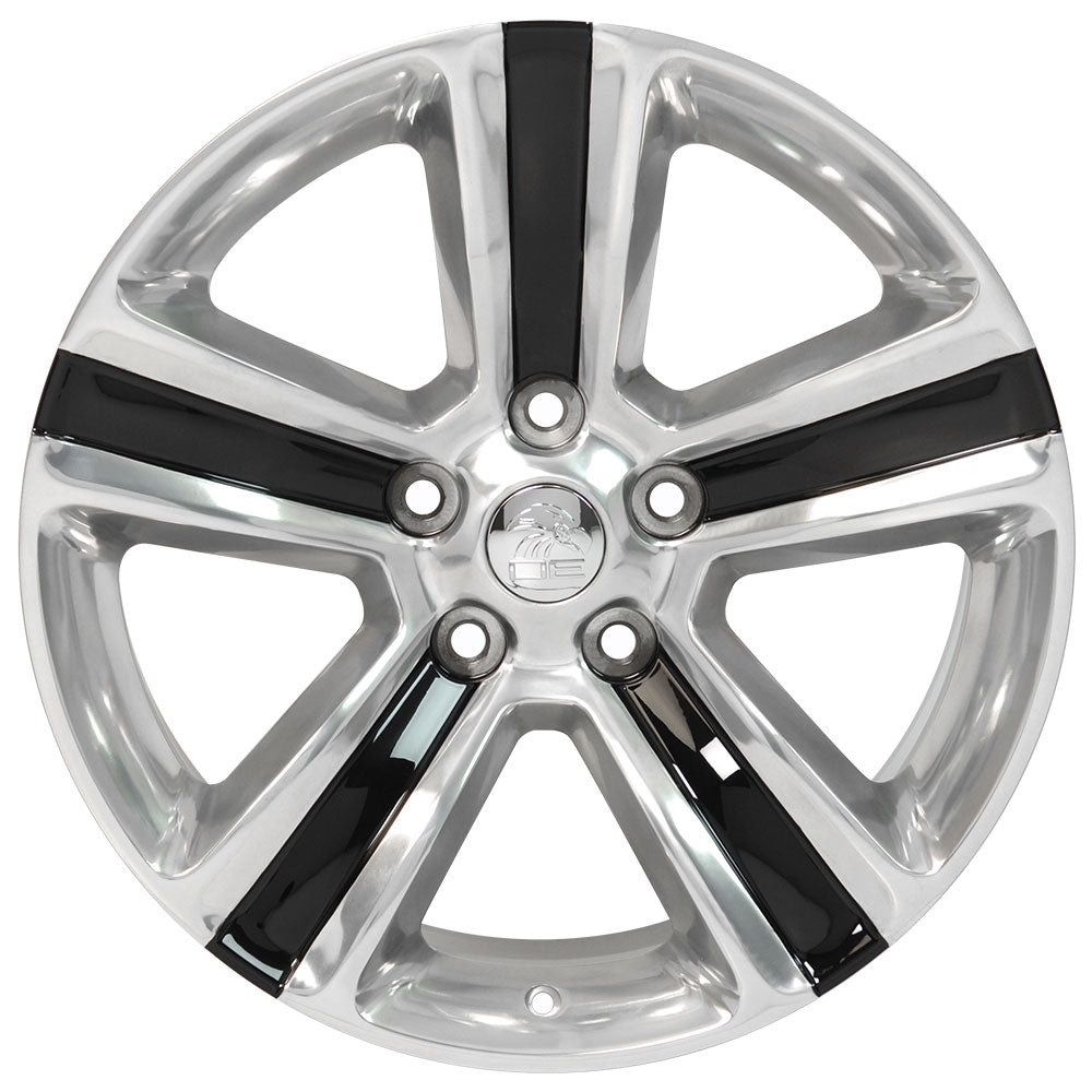 "20"" Fits Dodge - Ram 15 Style Replica Wheel - Polished w/ black inlay 2x9 