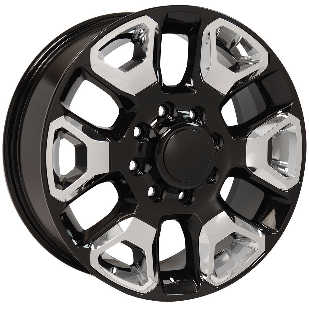 "20"" fits Dodge - 25-35 Replica Wheel - Black with Chrome Inserts 2x8 