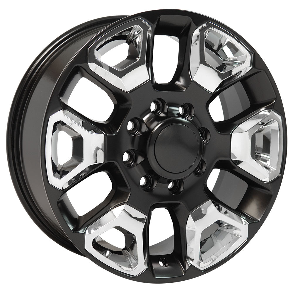 "20"" fits Dodge - 25-35 Replica Wheel - Satin Black with Chrome Inserts 2x8 