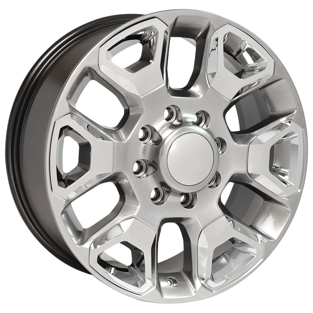 "20"" fits Dodge - 25-35 Replica Wheel - Hyper Silver with Chrome Inserts 2x8 