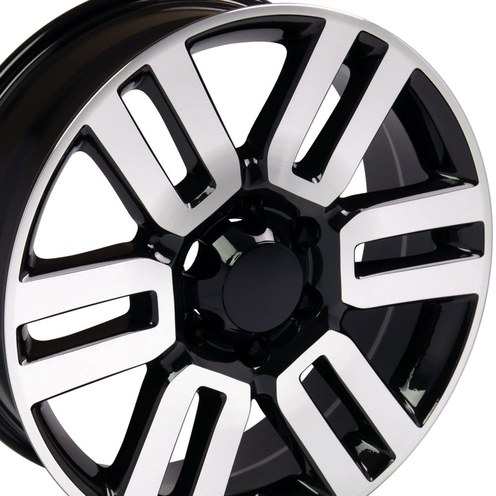 "20"" Fits Toyota - 4Runner Style Replica Wheel - Black Mach'd Face 20x7 