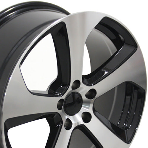 "18"" Fits VW Volkswagen - GTI Style Replica Wheel - Black Mach'd Face 18x8 