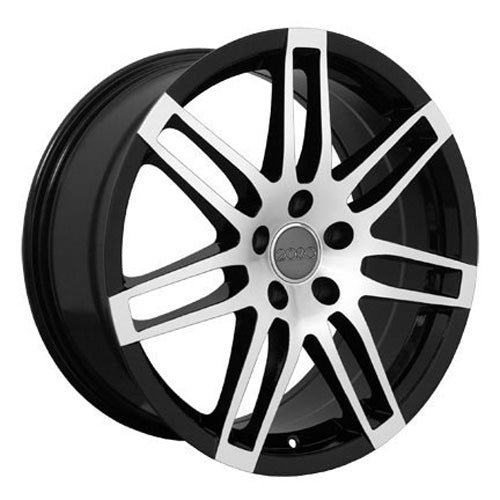 "18"" Fits Audi - New RS4 Style Replica Wheel - Black Mach'd Face 18x8 