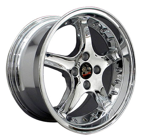 "17"" Fits Ford - Mustang Cobra R Deep Dish Wheel - Chrome with Rivets 17x9 