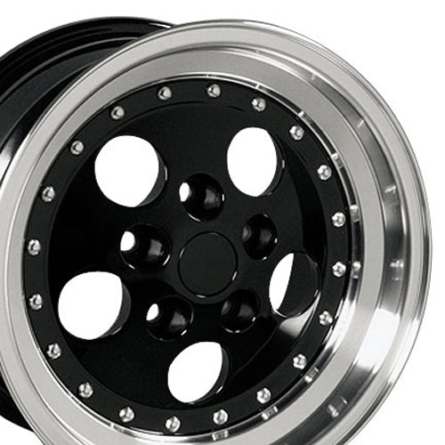 "15"" Fits Jeep - Wrangler Wheel - Black Mach'd Lip 15x8 