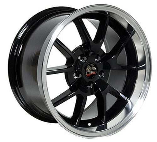 "18"" Fits Ford - Mustang FR5 Wheel - Black Mach'd Lip 18x1 