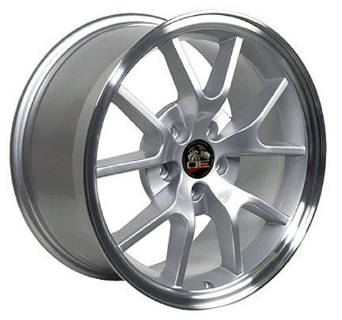 "18"" Fits Ford - Mustang FR5 Wheel - Silver Mach'd Lip 18x9 