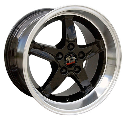 "17"" Fits Ford - Mustang Cobra R Deep Dish Wheel - Black Mach'd Lip 17x1.5 