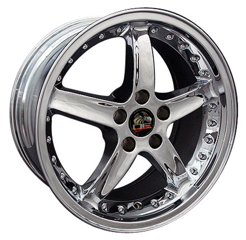 "18"" Fits Ford - Mustang Cobra R Deep Dish Wheel - Chrome with Rivets 18x9 
