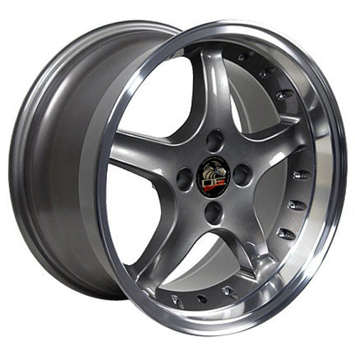 "17"" Fits Ford - Mustang Cobra R Deep Dish Wheel - Anthracite Mach'd Lip with Rivets 17x9 