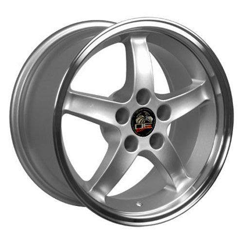 "17"" Fits Ford - Mustang (Cobra R style) Deep Dish Wheel - Silver Mach'd Lip 17x9 