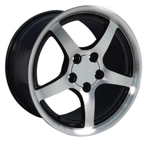 "17"" Fits Chevrolet - Corvette C5 Deep Dish Wheel - Black Mach'd Face 17x9.5 
