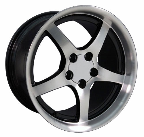 "18"" Fits Chevrolet - Corvette C5 Deep Dish Wheel - Black Mach'd Face 18x1.5 