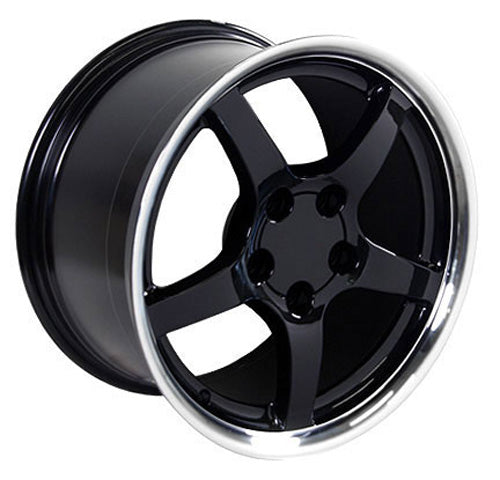 "17"" Fits Chevrolet - Corvette C5 Deep Dish Wheel - Black Mach'd Lip 17x9.5 