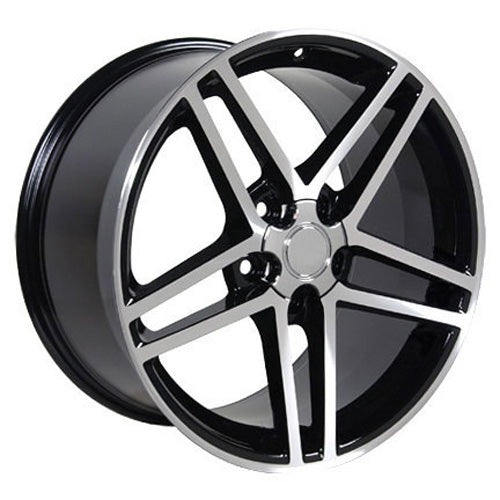 "19"" Fits Corvette - C6 Z6 Replica Wheel - Black Mach'd Face 19x10 