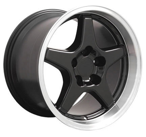 "17"" Fits Chevrolet - Corvette ZR1 Wheel - Black Mach'd Lip 17x11 
