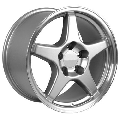 "17"" Fits Corvette - ZR1 Style Replica Wheel - Silver Mach'd Lip 17x9.5 