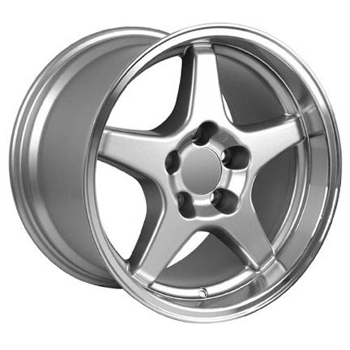 "17"" Fits Corvette - ZR1 Style Replica Wheel - Silver Mach'd Lip 17x11 