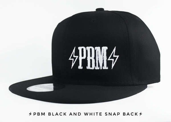EMBROIDERED PBM LOGO BLACK SNAPBACK HAT