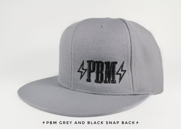 EMBROIDERED PBM LOGO GREY SNAPBACK HAT