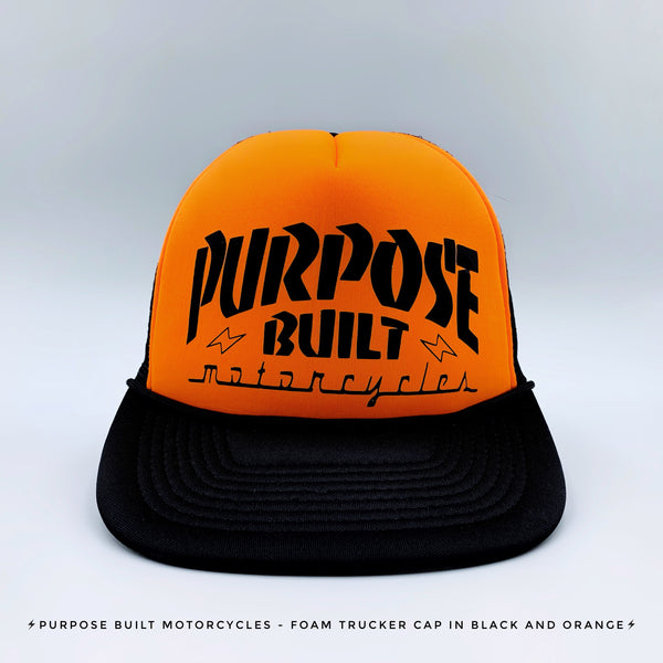 FOAM TRUCKER CAP IN BLACK AND ORANGE