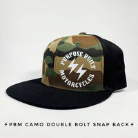 SCREEN PRINTED  ROUND LOGO CAMO SNAPBACK HAT