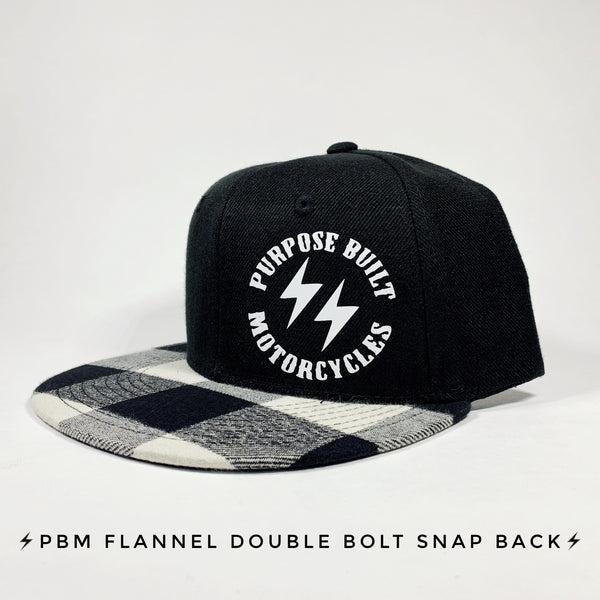 SCREEN PRINTED ROUND LOGO BLACK FLANNEL SNAPBACK HAT