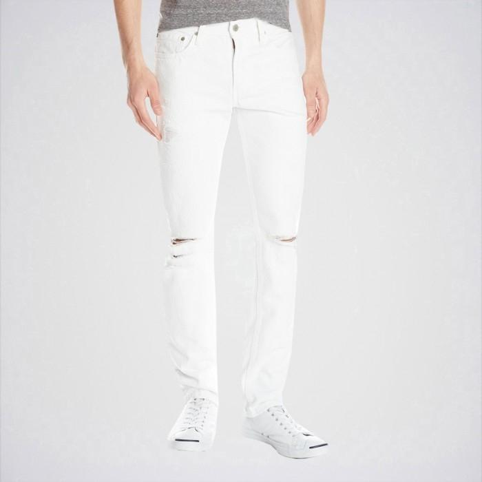 Men's White Slim Fit Jeans Aj-Wh28