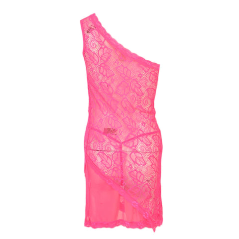 Pack of 2 Short Floral Net Nighty and G-String Panty for Women (Free Size) - Pink UG-399