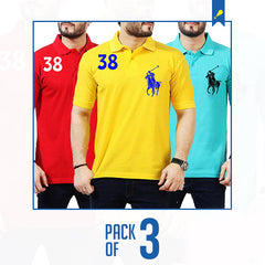 Ajmery Set of 3 Multi Color Cotton Horse Polo Shirts for Men-6