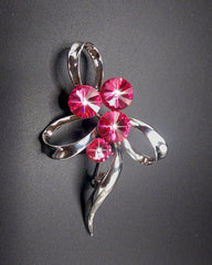 Acrylic Stone Pink Silver Plated Pin Brooch For Women