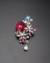 Large And Small Rhinestone Crystal Diamante Silver Plated Pin Brooch For Women - Multicolor