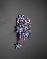 Vintage Rhinestone Flower Crystal Silver Plated Pin Brooch For Women - Purple