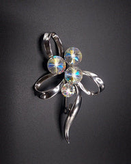 Acrylic Stone White Silver Plated Pin Brooch For Women