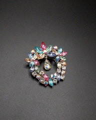 Vintage Rhinestone Little Flowers Crystal Silver Plated Pin Brooch For Women - Multicolor