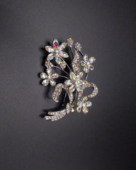 Diamante Rhinestone Little Flowers Silver Plated Pin Brooch For Women - White