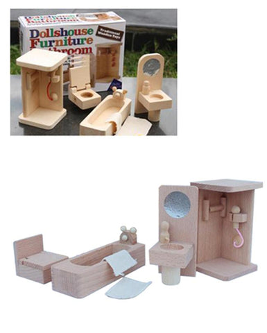 Wooden Dollhouse Furniture - Classic Bathroom